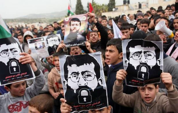 Palestinian children rally for Khader Adnan on 64th day of hunger strike 021912