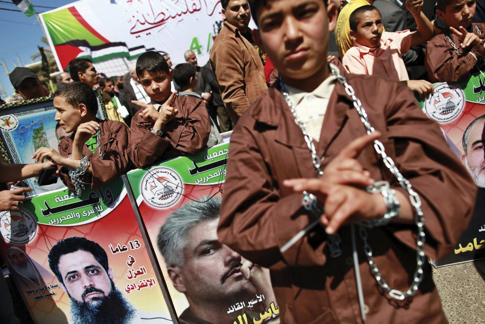 Palestinian children rally for prison hunger striking dads 0512