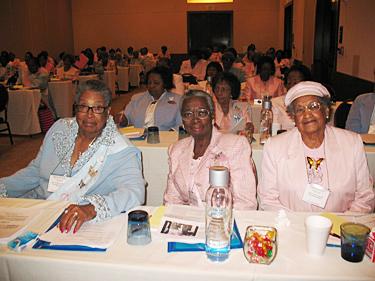 Gamma Phi Delta sorority past national presidents Willie B. Kennedy, Bessey D. Long, Frances Jarrett at national board m