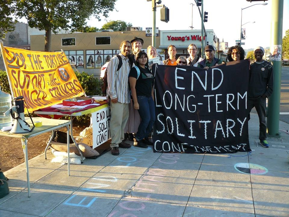 60-hour solidarity fast with prison hunger strikers, joined by supporters outside Gov. Brown's condo 27th & Telegraph, Oakland 0905-0713