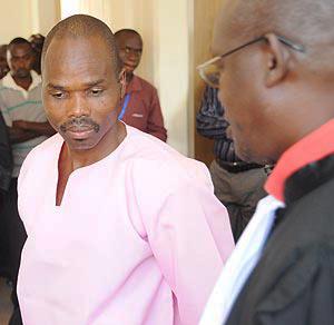 Bernard Ntaganda in pink prison garb