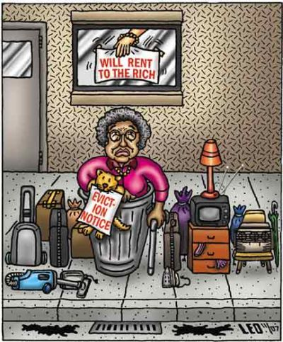 Eviction-cartoon, Democrats cave in to another round of sequestration budget cuts, National News & Views