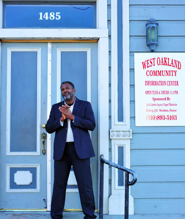 Kevin Skipper in doorway of Liberty Hall, Marcus Garvey Bldg, West Oakland 0813 by Bryon Malik, RSVP Event Photography