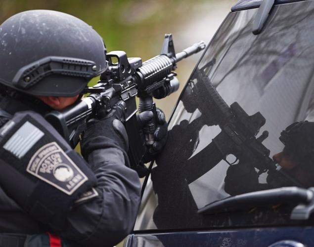 Police SWAT sharpshooter Boston Marathon bombing manhunt 041913 by Sgt. Sean Murphy, Mass. State Police