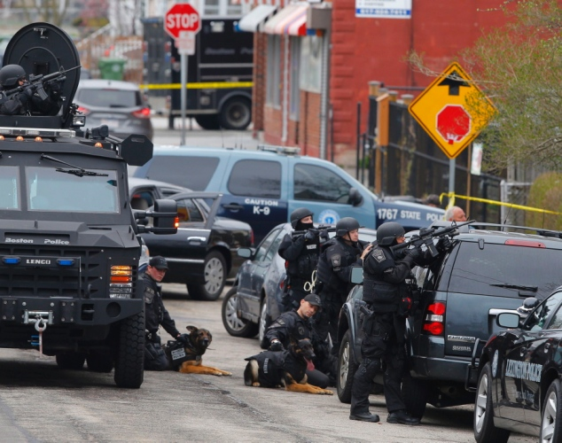 Police search Watertown Mass. for Boston Marathon bombing suspect 041913 by Sgt. Sean Murphy, Mass. State Police
