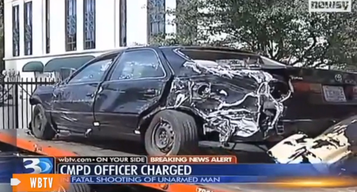 Wrecked car of Jonathan A. Ferrell, 24, killed by police when he sought help Charlotte NC 091513 by WBTV