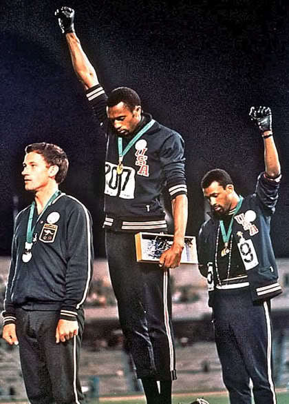 1968 Olympics Mexico City 200-meter dash Peter Norman, silver, Australia, Tommie Smith, gold, John Carlos, bronze