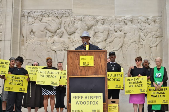 Albert Woodfox press conf, 50,000 petition delivery La. Capitol Robert King speaking 102113