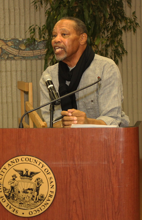 BHRLC Meet the Lawyers Robert Woods at podium Alex Pitcher Room 102413 by Lance Burton, Planet Fillmore Communications,
