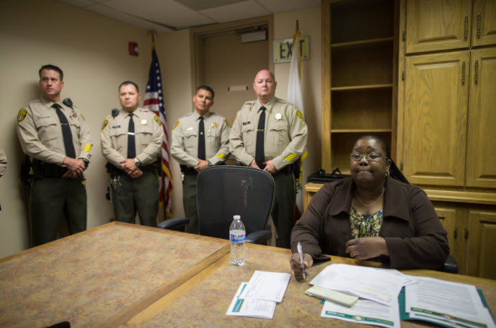 Corcoran Warden Connie Gipson, 4 guards media tour 100113 by Grant Slater
