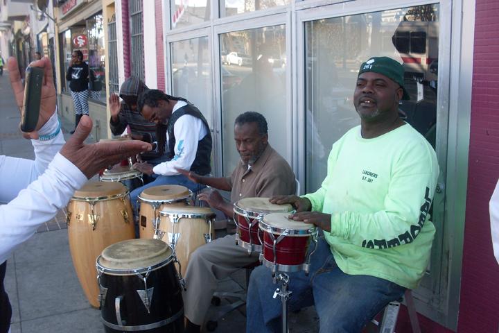 Dollar-Store-Thanksgiving-drummers-Claude-Alonzo-James-Richards-son-112213-by-Lynn-Daniels-Tha-Community-web, Third Street Stroll ..., Culture Currents