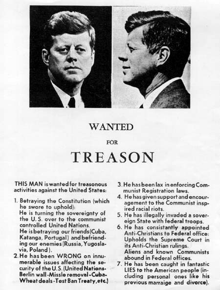 John Kennedy 'Wanted for treason' flier distributed 112163