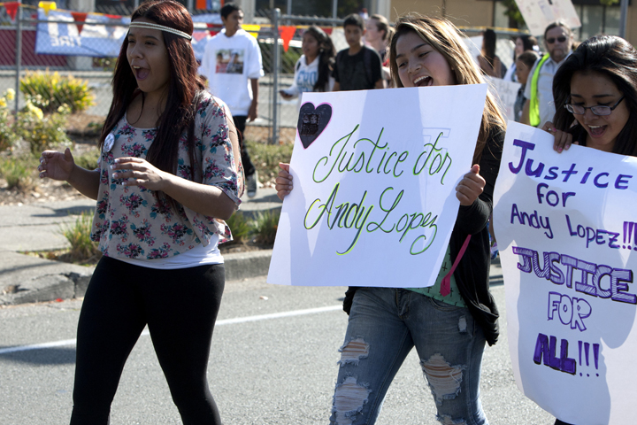 Justice-for-Andy-Lopez-march-joyful-girls-102913-by-Malaika-web, Andy Lopez, 13, murdered by cop with 'mean gene', Local News & Views
