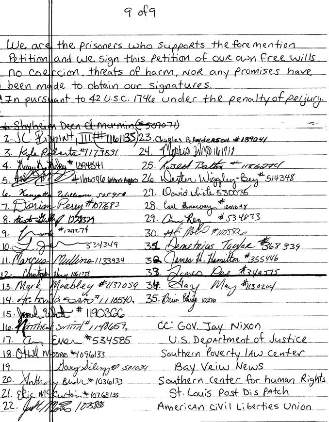 Missouri Potosi prisoners' petition signatures 101513