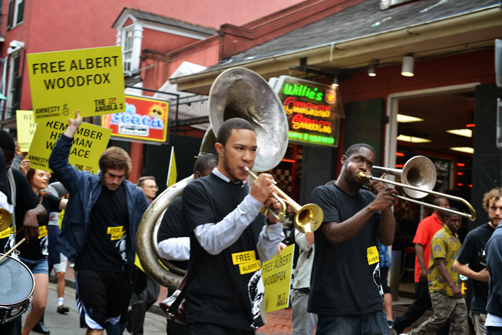 New Orleans second line for Herman Wallace orgGÇÖd by Amnesty IntGÇÖl & A3 Coalition 101913