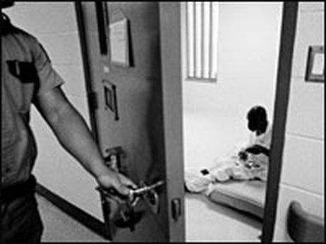 Prisoner in solitary confinement cell 1996 Huntsville TX by NPR