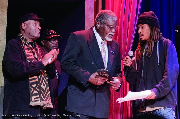 Black Media Appreciation Night Emory Douglas, Bill Jennings, Big Man, Fly Benzo 112612 by Scott Braley, web