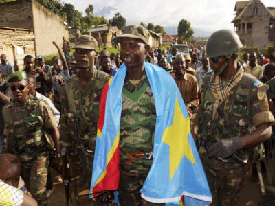 Congolese drape flag Col. Mamadou N'Dala Moustafa after M23 defeat 1113