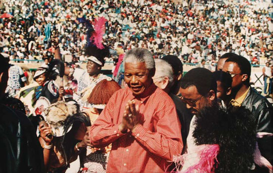 Mandela, crowd by Monica Morgan
