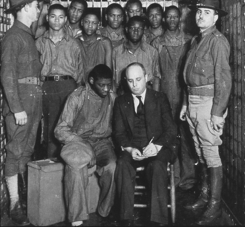 Scottsboro-Boys-jailed-w-their-attorney-Samuel-Leibowitz-web, Exoneration only the first step in making amends to the Scottsboro Boys, National News & Views