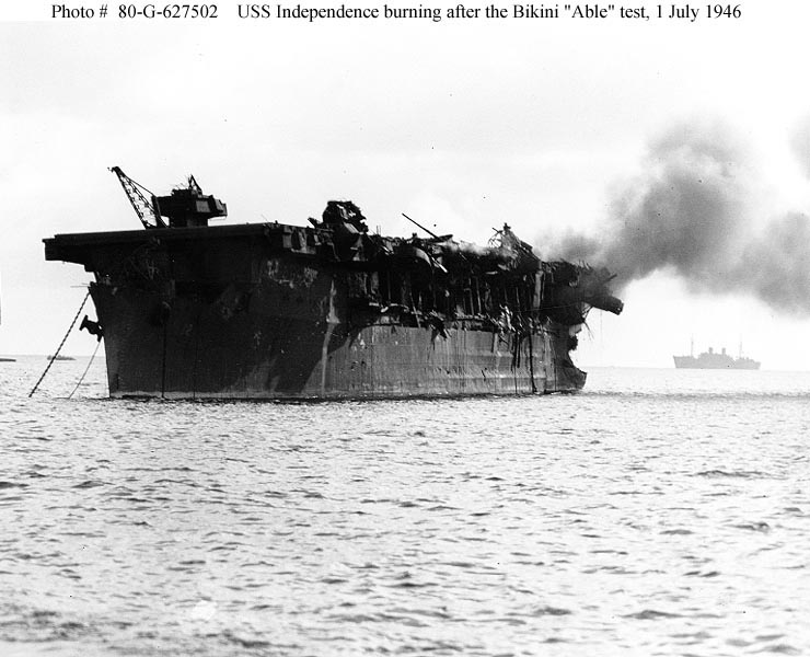 USS-Independence-burning-Bikini-Able-nuclear-bomb-test-070146-later-sunk-Farallon-Islands-Nuclear-Waste-Site-after-5, Hot spots: Radioactive San Francisco, Local News & Views