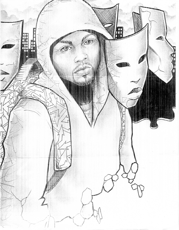 Young-man-with-masks-drawing-by-Starkim-web, Life means guilt to a Black Man, Behind Enemy Lines