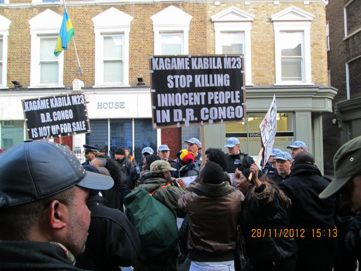 Congolese protesters outside Rwandan High Commission in London 112812
