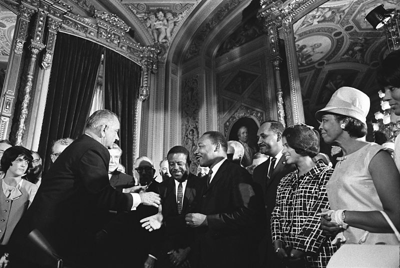 President-Lyndon-Johnson-Rev.-Dr.-Martin-Luther-King-Ralph-Abernathy, War on poverty wages on, National News & Views