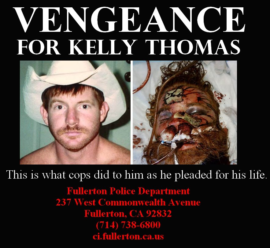 Vengeance-for-Kelly-Thomas-poster, Cops walk who beat Kelly Thomas to death: Welcome to our world, National News & Views