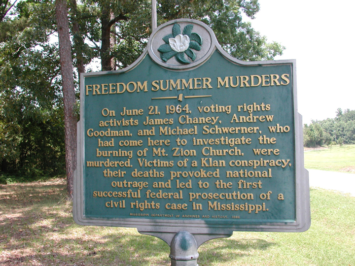 'Freedom Summer Murders' historical marker, web