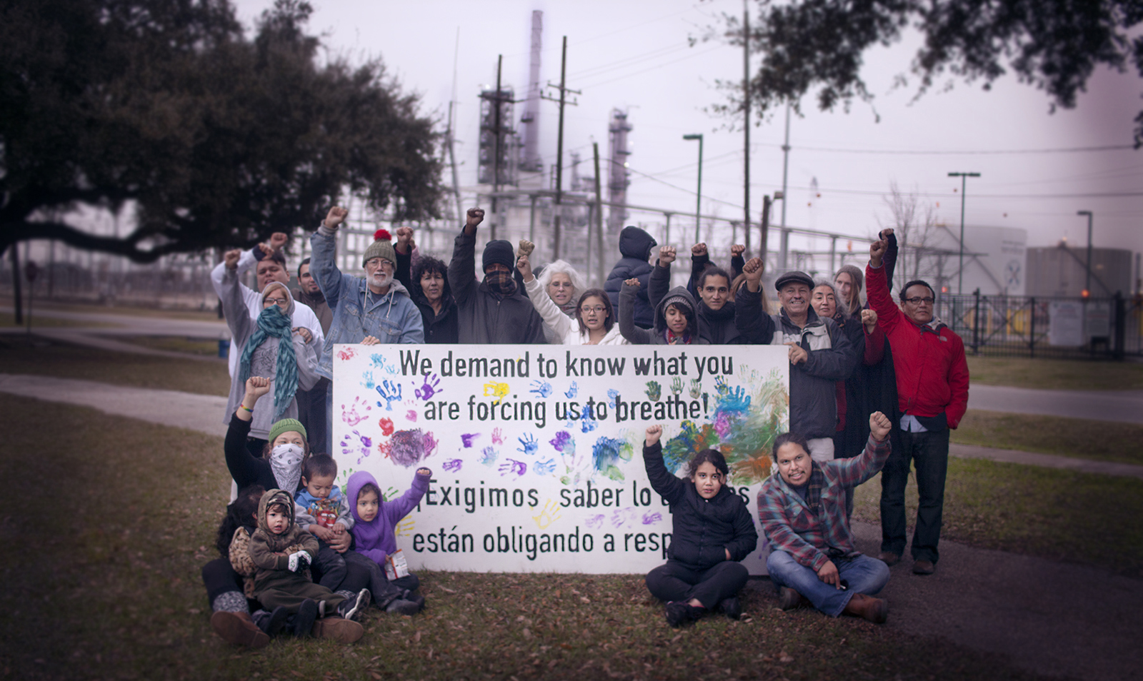Manchester com'y Houston surrounded by refineries 'We demand to know what you are forcing us to breathe', web