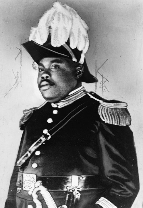 Marcus Garvey in feathered helmut, web