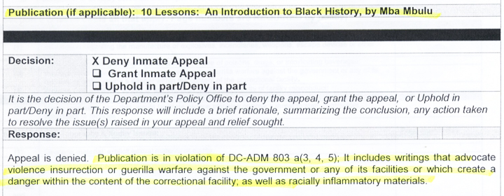 PDOC censors Robert Saleem Holbrook's Black history book 101813, excerpt