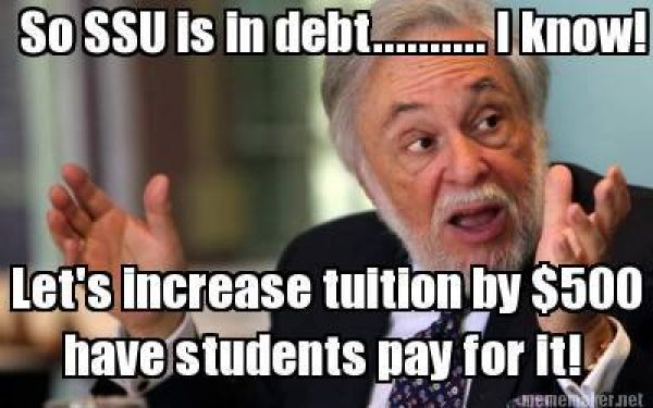 'So SSU is in debt' $500 fee graphic