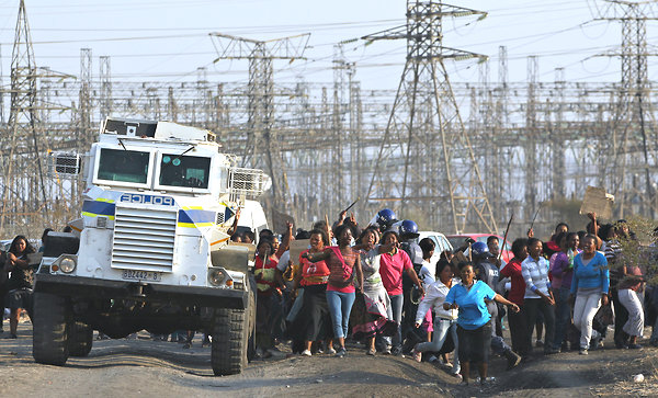 Marikana mine workers' wives, mothers protest police 081712-2 by Themba Hadebe, AP