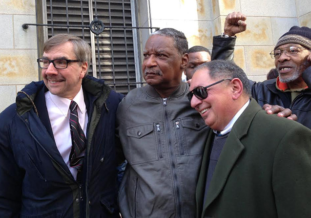 Marshall 'Eddie' Conway freed leaving courthouse w attorneys Robert Boyle, Phillip G. Dantes 030414 by Laura Whitehorn