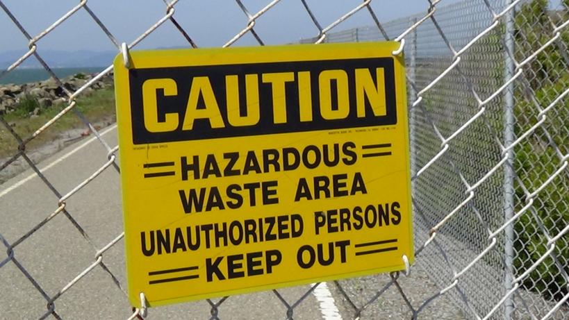 Treasure Island sign 'Caution Hazardous Waste Area' 0314 by Carol Harvey