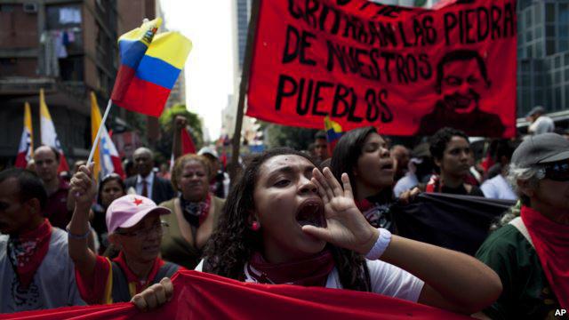 Venezuela pro-gov colectivo (collective) march downtown Caracas 022014 by Reuters