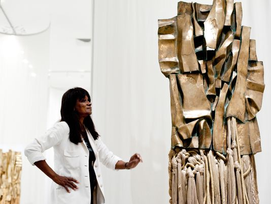 Barbara Chase-Riboud with 'Malcolm X #3' (1969) by Barbara Chase-Riboud, polished bronze, cotton and rayon at Philadelphia Museum of Art by Gannett Courier-Post