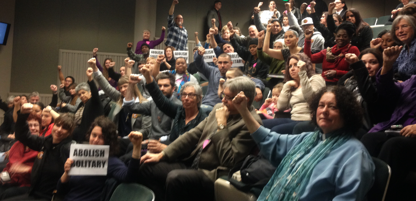 Joint hearing on solitary prisoner supporters in overflow room 021114
