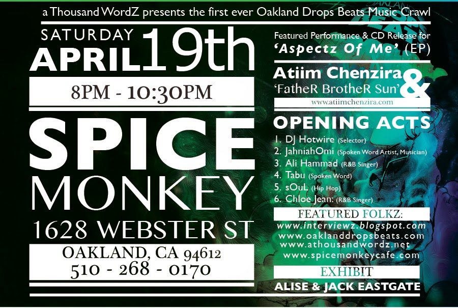 Oakland Drops Beats Music Crawl, Spice Monkey 041914