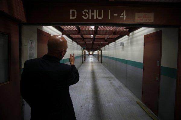 """This is Warren Jordan's """"neighborhood,"""" the Short Corridor of the Pelican Bay SHU. – Photo: Los Angeles Times"""