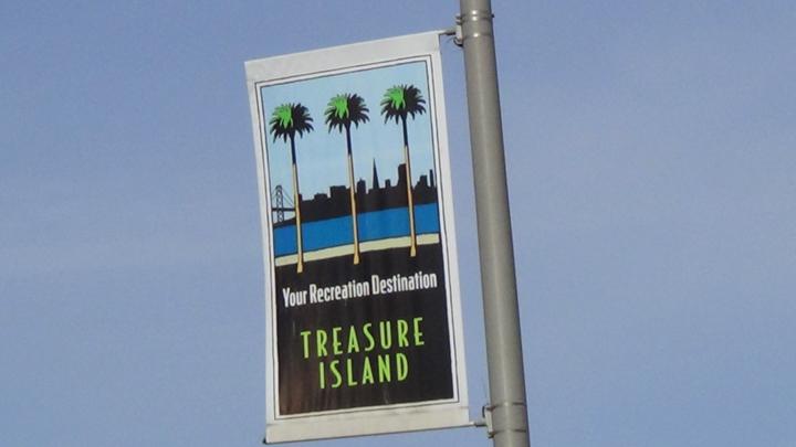 'Treasure Island Your Recreation Destination' sign, web