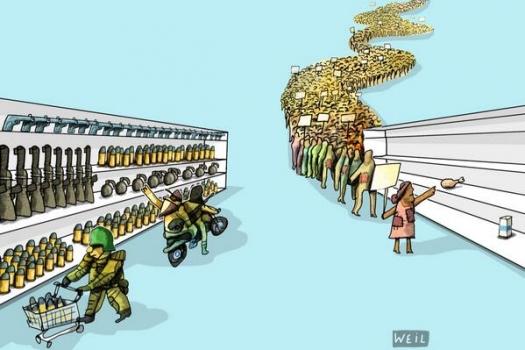 Venezuela squandering oil revenue on rabble cartoon by Roberto Weil