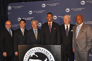 Pacific Gas & Electric was the lead sponsor of the 2014 Conference of Mayors in Sacramento in April. Next year the Conference of Mayors will be held in San Francisco. The third mayor from left is San Francisco's Ed Lee.