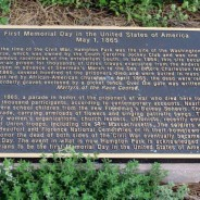 This plaque in what is now called Hampton Park in Charleston, S.C., marks the place where Blacks held the first Memorial Day on May 1, 1865.