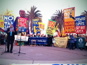 San Francisco Supervisor John Avalos speaks at a clean power rally.