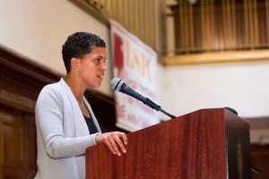 """Michelle Alexander, author of """"The New Jim Crow,"""" inspires the crowd at Legal Services for Prisoners with Children's 35th anniversary gala Oct. 19, 2013, in San Francisco. – Photo: Aubrie Johnson"""