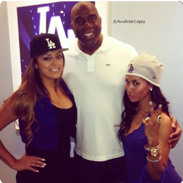V. Stiviano is shown at right with NBA legend and Los Angeles Dodgers co-owner Magic Johnson in a photo she posted to her Instagram page. The photo was at the center of an argument between Stiviano and Los Angeles Clippers owner Donald Sterling, who scolded Stiviano for associating with Black people in public and ordered her to take down the photo.