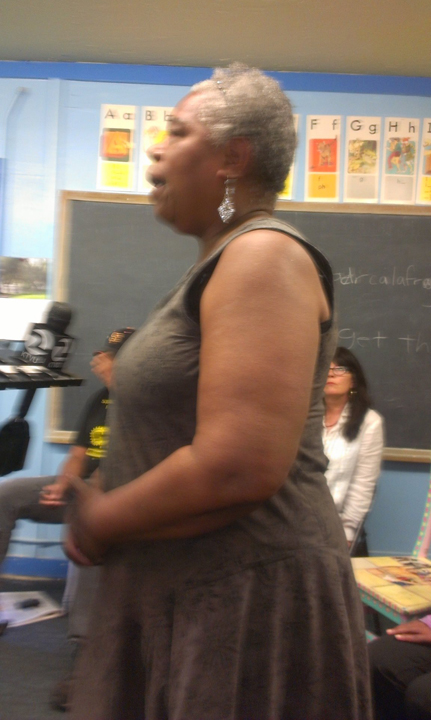 Gail Meadows, founder of Meadows Livingstone School, speaks in support of Marcus Books. – Photo: Poor News Network